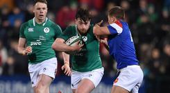 Ireland's Dylan Tierney-Martin in action against Louis Carbonel of France during the U20 Six Nations Rugby Championship clash at Irish Independent Park in Cork last March. Photo: Matt Browne/Sportsfile