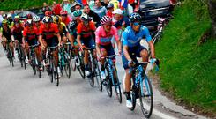 Team Movistar rider Ecuador's Richard Carapaz, wearing the overall leader's pink jersey rides during stage 19 of the 102nd Giro d'Italia from Treviso to San Martino di Castrozza. Photo: Luk Benies/Getty Images