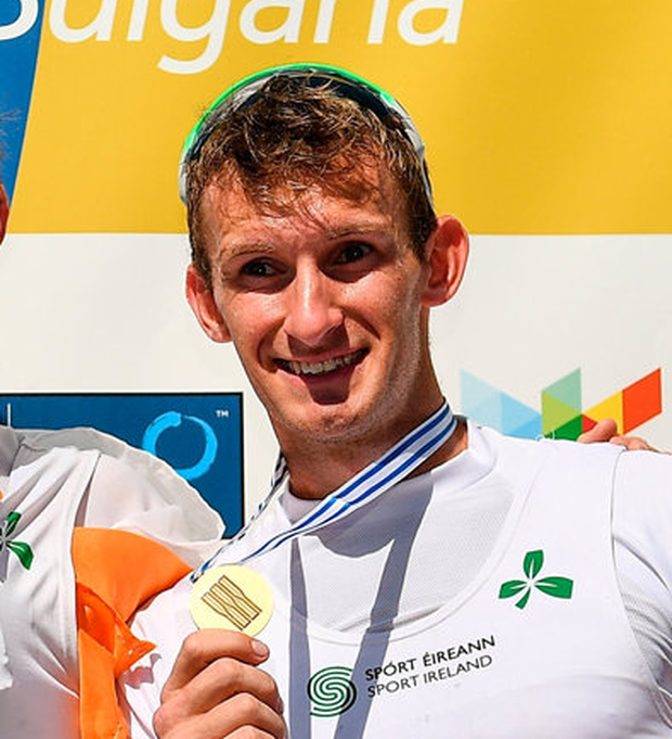World Rowing Championships - Day Seven...15 September 2018; Paul O'Donovan, left, and Gary O'Donovan of Ireland on the podium following their victory in the Lightweight Men's Double Sculls Final on day seven of the World Rowing Championships in Plovdiv, Bulgaria. Photo by Seb Daly/Sportsfile...ABC