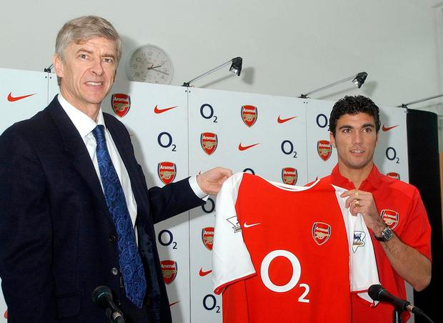 Arsenal manager Arsene Wenger pictured with his new signing Jose Antonio Reyes back in 2004. The ex-Arsenal and Spain forward died in a car crash at the age of 35 on Saturday June 1.