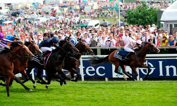 Anthony Van Dyke ridden by Jockey Seamie Heffernan on the way to winning the Investec Derby Stakes during Derby Day of the 2019 Investec Derby Festival at Epsom. Photo credit: Simon Cooper/PA Wire.