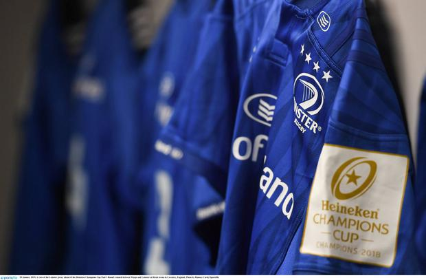 20 January 2019; A view of the Leinster jersey ahead of the Heineken Champions Cup Pool 1 Round 6 match between Wasps and Leinster at Ricoh Arena in Coventry, England. Photo by Ramsey Cardy/Sportsfile