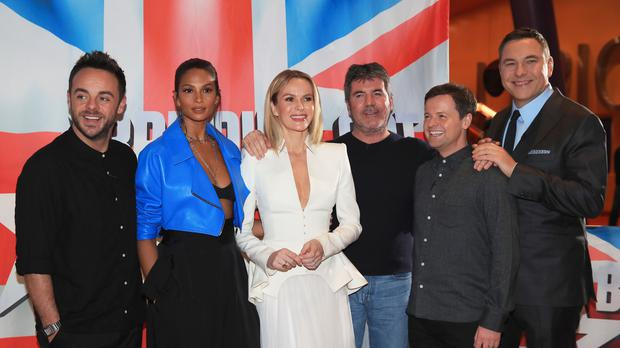 Anthony McPartlin, Alesha Dixon, Amanda Holden, Simon Cowell, Declan Donnelly and David Walliams (Peter Byrne/PA)