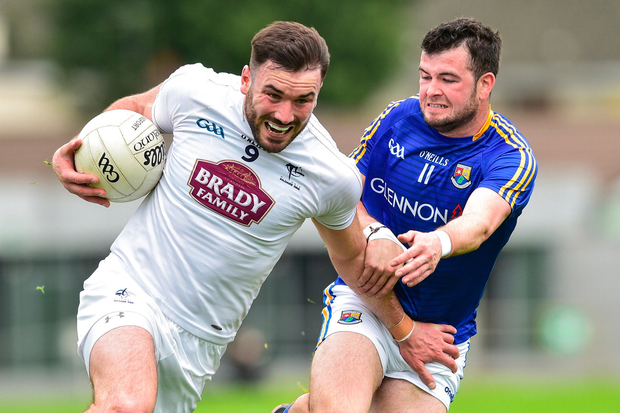 Fergal Conway of Kildare in action against Barry McKeon of Longford during Leinster GAA Football Senior Championship Quarter-Final Replay match between Longford and Kildare at Bord na Mona O'Connor Park in Tulamore, Offaly. Photo by Matt Browne/Sportsfile