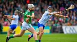 Cian Lynch of Limerick in action against Jamie Barron of Waterford during the Munster GAA Hurling Senior Championship Round 3 match between Waterford and Limerick. Photo by Ramsey Cardy/Sportsfile