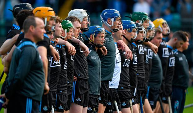 Dublin players stand for the playing of the National Anthem before the Leinster SHC Round 3B match against Carlow. Photo: Ray McManus/Sportsfile