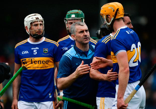 Tipperary manager Liam Sheedy with Barry Heffernan after the Munster SHC Round 3 win over Clare at Cusack Park in Ennis. Photo: Diarmuid Greene/Sportsfile