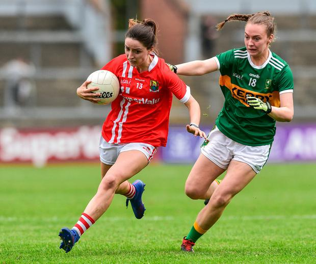 Eimear Scally of Cork in action against Kerry's Aoife O'Callaghan. Photo: Matt Browne/Sportsfile