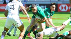 Ireland's Harry McNulty in action against England at the HSBC Paris Sevens. Ireland yesterday lost in the Challenge Trophy final 28-12 to Canada and finished 10th in the competition. Fiji took the title after beating New Zealand. Photo: Sandra Ruhaut/Icon Sport via Getty Images