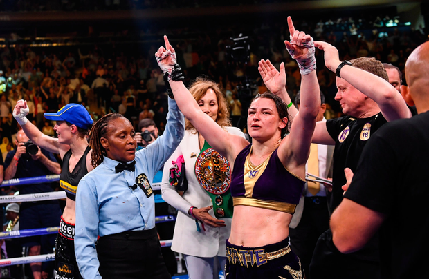 Katie Taylor has her hand raised in victory by referee Sparkle Lee after Saturday night's fight. Photo: Stephen McCarthy/Sportsfile