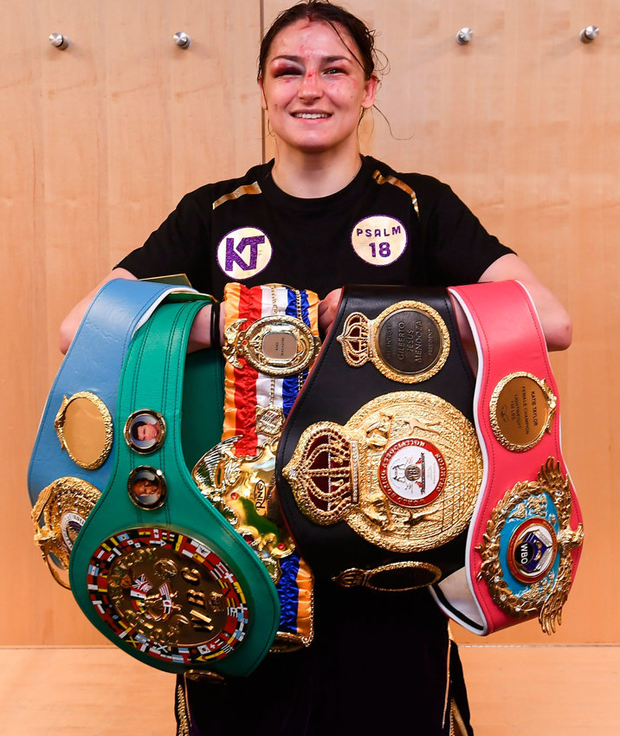 The Bray boxer is pictured with her five belts. Photo: Stephen McCarthy/Sportsfile