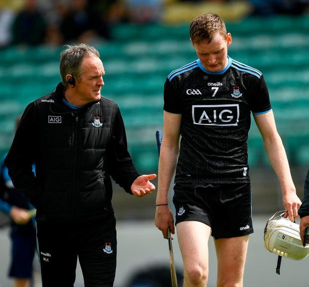 Mattie Kenny speaks with Shane Barrett. Photo: Ray McManus/Sportsfile
