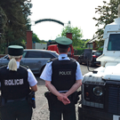 Police and army bomb disposal experts at Shandon Park Golf Club in east Belfast. Photo: PA