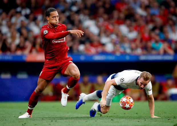 Harry Kane struggled to cope with the dominance of Virgil Van Dijk. Photo: Martin Rickett/PA Wire