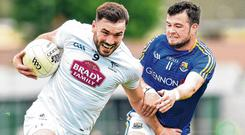 Fergal Conway of Kildare in action against Barry McKeon of Longford. Photo: Matt Browne/Sportsfile