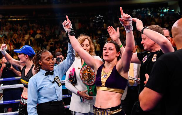 Katie Taylor is announced victorious by referee Sparkle Lee after her Undisputed Female World Lightweight Championship fight with Delfine Persoon at Madison Square Garden in New York, USA. Photo: Stephen McCarthy/Sportsfile