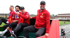 Liverpool manager Jurgen Klopp on an open top bus during parade