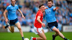 Andy McDonnell of Louth in action against Jack McCaffrey of Dublin during the Leinster SFC quarter-final at O'Moore Park in Portlaoise, Laois. Photo: Eóin Noonan/Sportsfile