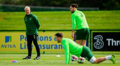 Ireland manager Mick McCarthy is during an Ireland training session at the FAI National Training Centre in Abbotstown, Dublin. Photo: Harry Murphy/Sportsfile
