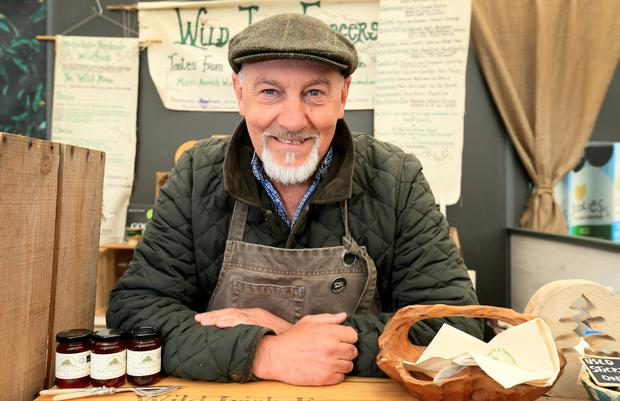Gorden Greene, from Birr, Co Offaly, at the Irish Wild Foragers artisan food stand. Photo: Frank McGrath