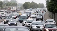 The index claims drivers in Dublin are spending an average of 45pc more time travelling in traffic than they should under more normal circumstances. Photo: Collins