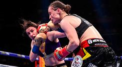 Telling blow: Katie Taylor lands a punch on Belgium's Delfine Persoon at Madison Square Garden. Photo: Stephen McCarthy/Sportsfile