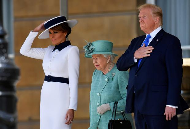 Queen Elizabeth with US President Donald Trump and First Lady Melania. Photo: REUTERS