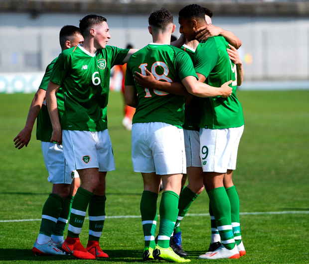 Adam Idah of Republic of Ireland celebrates after scoring a goal, from a penalty, with team-mates. Photo: Alexandre Dimou/Sportsfile