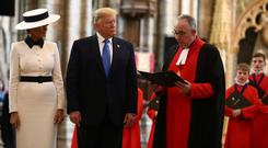 President Donald Trump and First Lady Melania Trump tour Westminster Abbey as part of their UK state visit. Photo: REUTERS/Simon Dawson