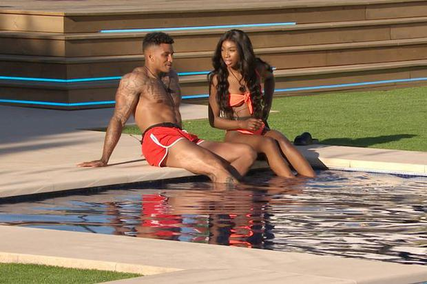 Yewande and Michael get to know each other by the Love Island pool. PIC: ITV2
