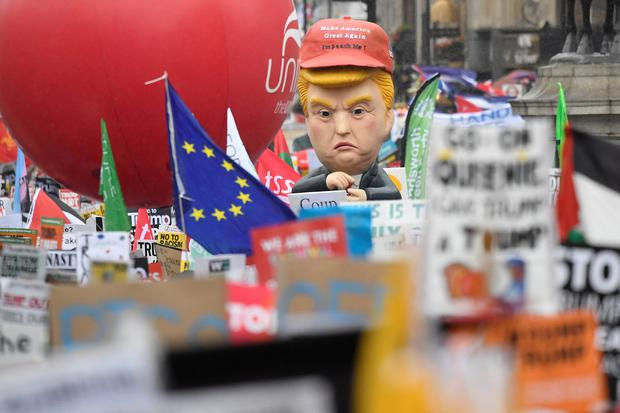 Demonstrators take part in a protest against U.S. President Donald Trump, in London, Britain, June 4, 2019. REUTERS/Toby Melville