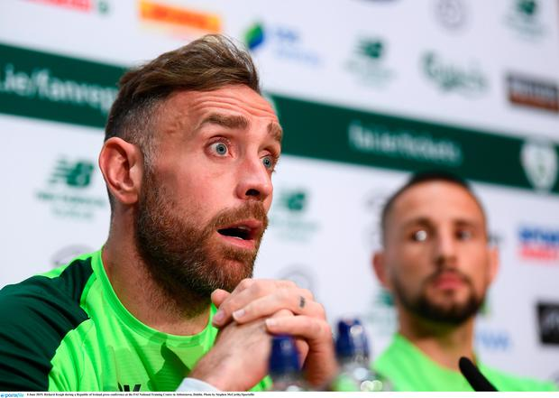 Richard Keogh during a Republic of Ireland press conference at the FAI National Training Centre in Abbotstown, Dublin. Photo by Stephen McCarthy/Sportsfile