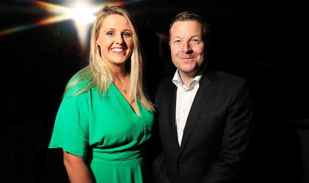 RTÉ and TG4 launch coverage as they bring FIFA Women's World Cup free-to-air to Irish screens for the first time. 4/6/2019 Pictured at the launch in Dublin are RTE presenter's Jacqui Hurley and Darragh Maloney Credit: Donall Farmer
