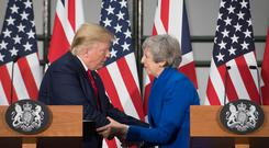 Britain's Prime Minister Theresa May and U.S. President Donald Trump attend a joint news conference at the Foreign & Commonwealth Office, in London, Britain June 4, 2019. Stefan Rousseau/Pool via REUTERS