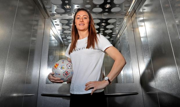 RTÉ and TG4 launch coverage as they bring FIFA Women's World Cup free-to-air to Irish screens for the first time. 4/6/2019 Pictured at the launch in Dublin is Republic of Ireland International Megan Campbell Credit: Donall Farmer
