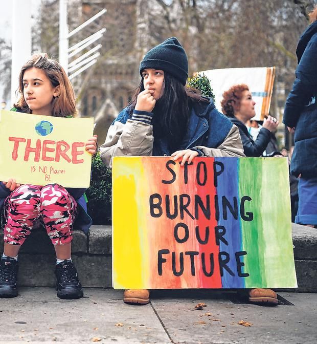 Protest: Students take part in a global school strike for action on climate change in Parliament Square, London. Photo: Kirsty O'Connor/PA Wire