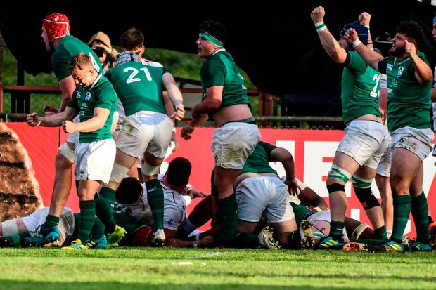 Ireland celebrate at the end of the first round match between England U20 and Ireland U20 at the World Rugby U20 Championship in Santa Fe, Argentina. (Photo by Amilcar Orfali/Getty Images)