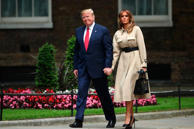 US President Donald Trump and first lady Melania Trump arrive at Downing Street. Photo: PA