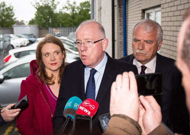 Minister for Justice, Charlie Flanagan,                       Minister Finian McGrath and Senator Catherine                       Noone at Coolock Garda Station. Photo: Independent                       News & Media