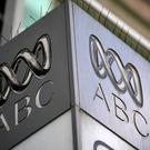 In this file photo taken on September 27, 2018 the logo for Australia's public broadcaster ABC is seen at its head office building in Sydney. - Australian police raided the headquarters of public broadcaster ABC on June 5. Photo by Saeed KHAN / AFP)SAEED KHAN/AFP/Getty Images