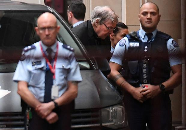 Cardinal George Pell arrives at the Supreme Court of Victoria in Melbourne, Australia, June 5, 2019. AAP Image/Julian Smith/via REUTERS