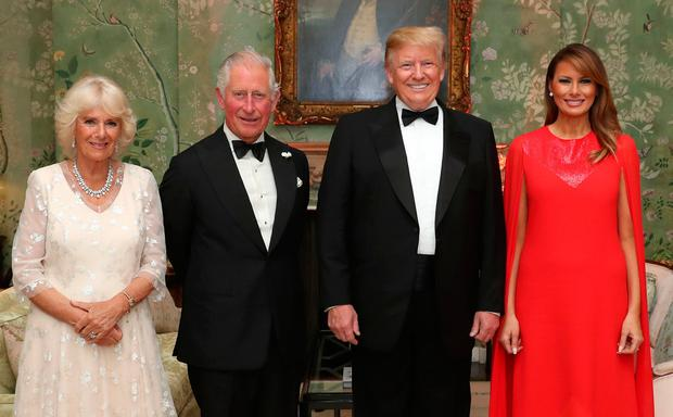 The Prince of Wales and the Duchess of Cornwall with US President Donald Trump and his wife Melania at Winfield House, the residence of the Ambassador of the United States of America to the UK, in Regent's Park, London: Chris Jackson/PA Wire