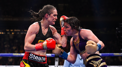 1 June 2019; Katie Taylor, right, and Delfine Persoon during their Undisputed Female World Lightweight Championship fight at Madison Square Garden in New York, USA. Photo by Stephen McCarthy/Sportsfile