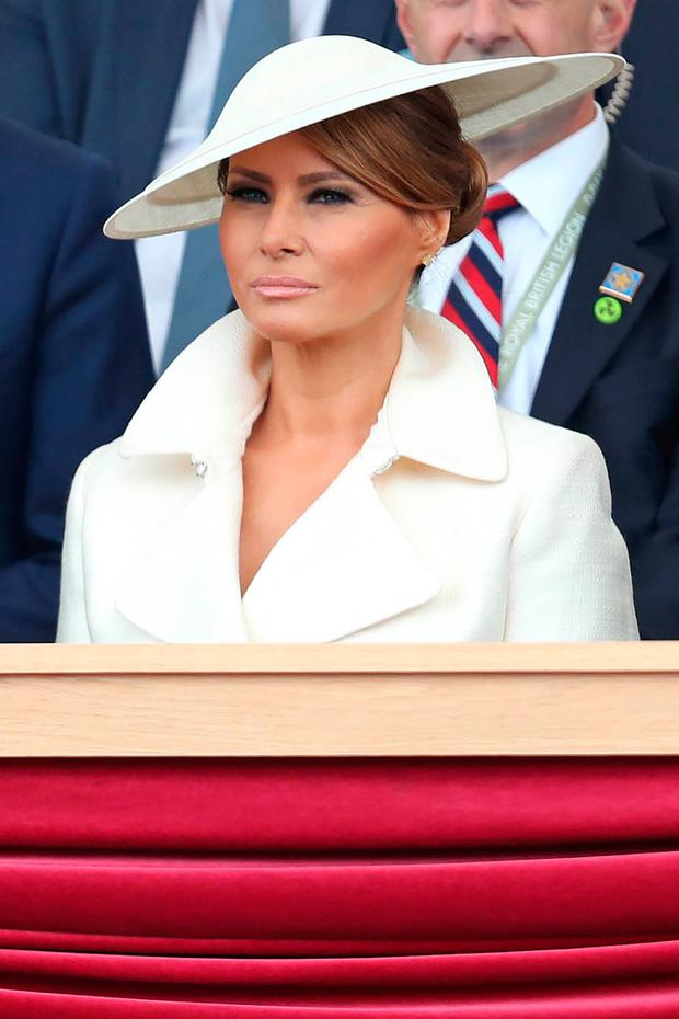 US First Lady Melania Trump attends an event to commemorate the 75th anniversary of the D-Day landings, in Portsmouth, southern England, on June 5, 2019