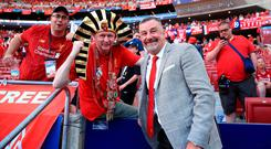 Former Liverpool player John Aldridge with fans in the stands before last Saturday's Champions League final in Madrid. Photo: Peter Byrne/PA Wire