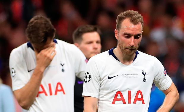Tottenham Hotspur's Fernando Llorente and Christian Eriksen reacts after the final whistle during the Champions League final defeat to Liverpool last Saturday. Photo: Mike Egerton/PA Wire