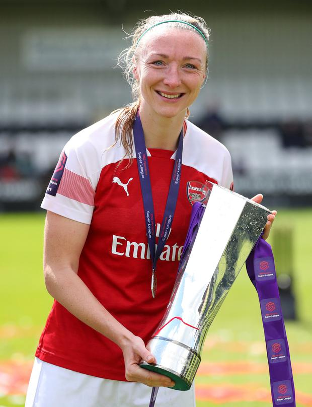 One of Ireland's leading players, Louise Quinn, lifting the Premier League trophy with Arsenal this season. Photo by Catherine Ivill/Getty Images