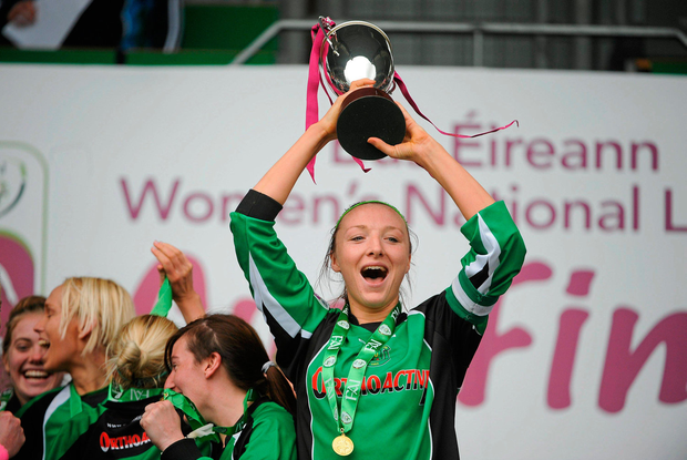 Quinn captaining Peamount to cup success in 2012. Picture credit: Tomas Greally / Sportsfile