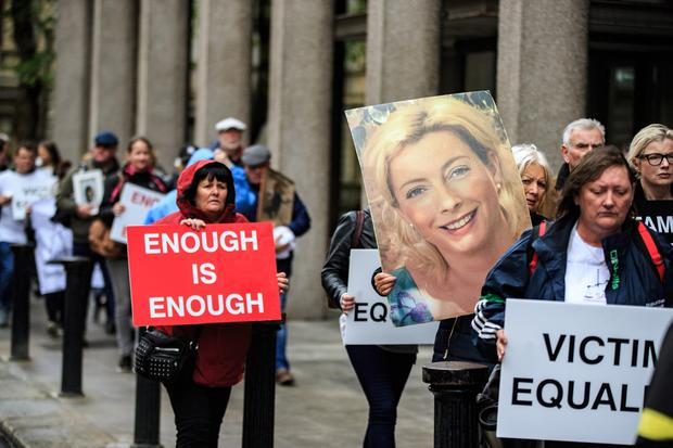 A picture of murder victim Siobhan Kearney is carried to the office's of the Minister for Justice, where Victims group Sentencing and Victim Equality (SAVE) organised the protest calling for mandatory minimum sentencing for homicide Pic:Mark Condren 5.6.2019