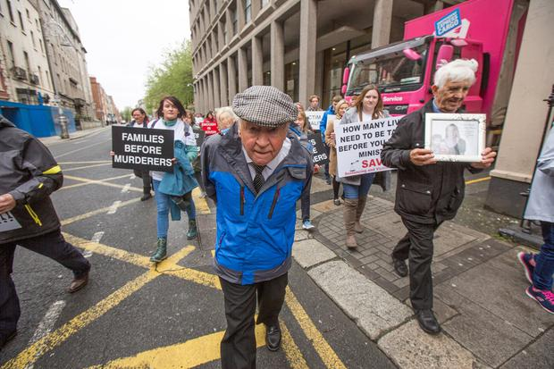 Murder victim Rachel O'Reilly's father Jim Callaly pictured at the Victims group Sentencing and Victim Equality (SAVE) protest ioutgside the Dail calling for mandatory minimum sentencing for homicide Pic:Mark Condren 5.6.2019